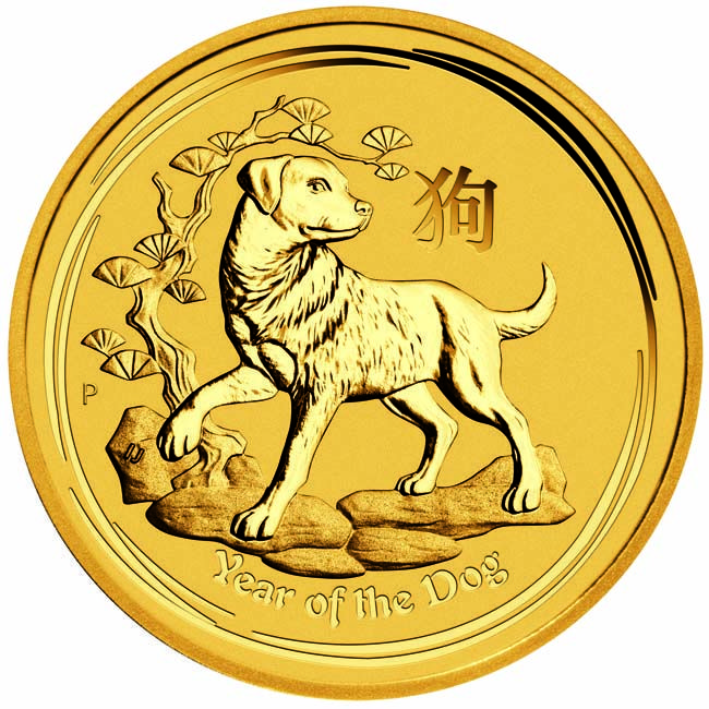 HUND 1 UNZE GOLD 2018 Perth Mint