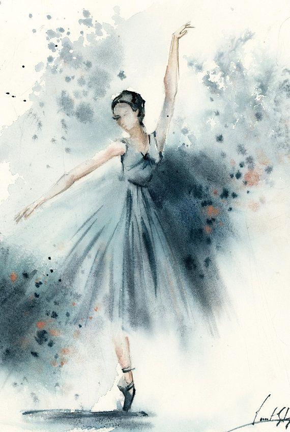 Ballerina Original Watercolor Painting Abstract Realism