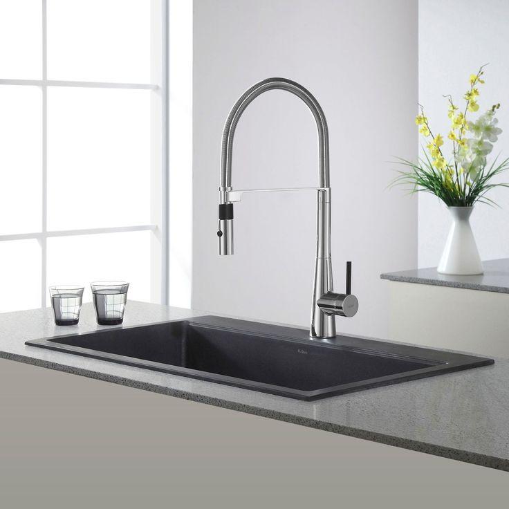 Kraus 31 1/5 inch Dual Mount Single Bowl Onyx Granite Kitchen Sink