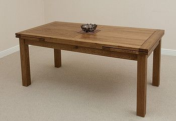 6ft x 3ft Rustic Solid Oak Extending Dining Table (Seats up to 12 people Extended)
