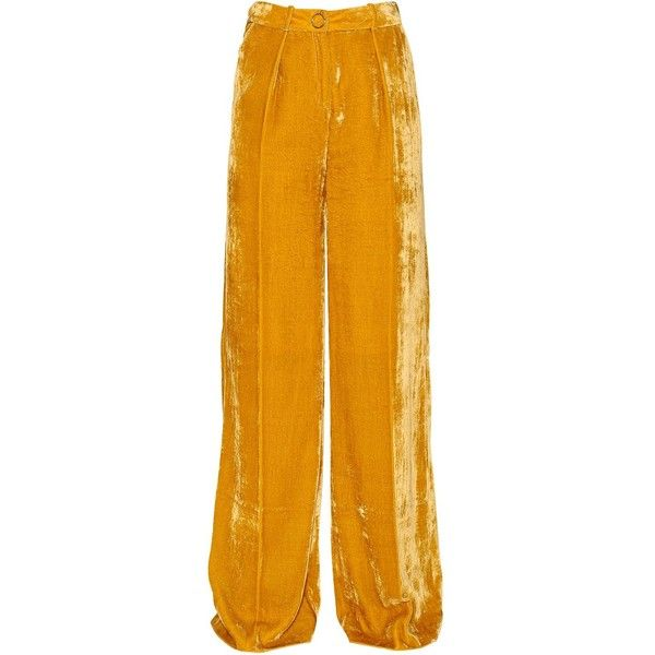 Mugler Women Velvet Wide Pants ($1,215) ❤ liked on Polyvore featuring pants, yellow, velvet wide leg trousers, wide leg pants, thierry mugler, yellow trousers and wide-leg trousers