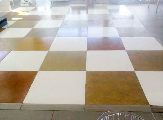 Painted gold & white check Connecta-Floor installed at Cavalli stud farm, Stellenbosch - April 2015