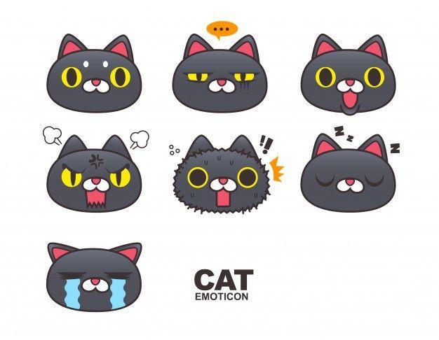 Black Cat Face Emoticon Emoji Expressions Isolated On White Background Em 2020 Cara De Gato Gato Preto Emoji