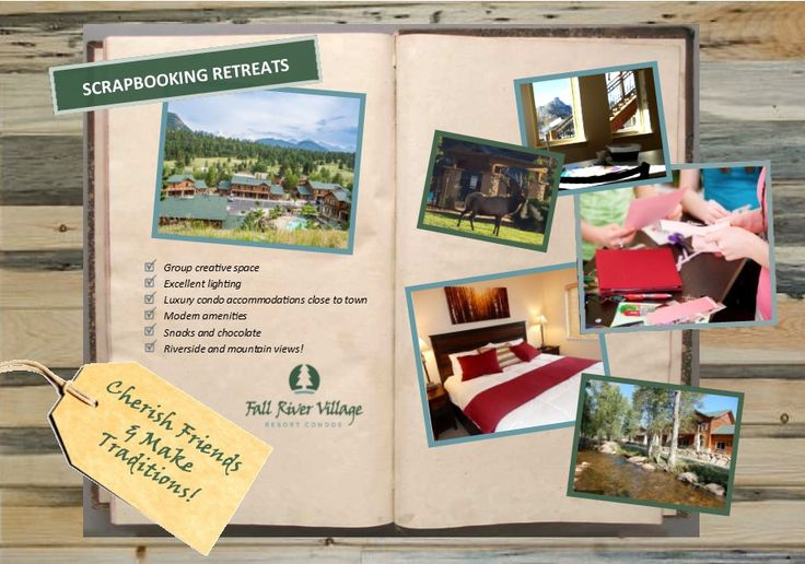 Enjoy a mountain escape with our new Scrapbooking Retreat Packages! We offer luxury condo accommodations close to town and group creative space! Winter package options start at $117 per person! Contact us at 970-325-6864 or fallrivervillageresort@gmail.com to learn more or to book your retreat. #EstesPark #craft #scrapbook #girlsnightout #retreat #weekend