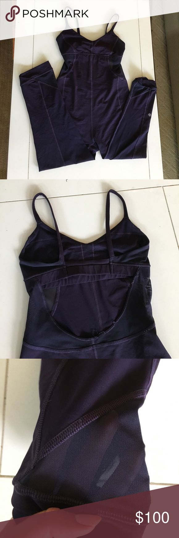 LULULEMON Plum Yoga Full Bodysuit 🍋 LULULEMON Plum Yoga Full Bodysuit - Size 8 - Has mesh detailing on back and legs - Built in Bra with no pads - Equivalent to capri length pants in terms of length. Questions are welcome 😊 CHEAPER ON Ⓜ️ lululemon athletica Other