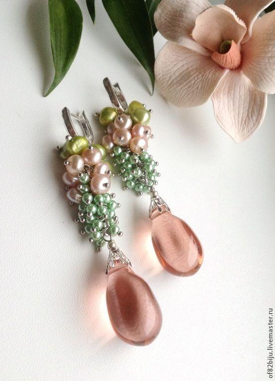 """DISC LIKE PEARLS THEN TINY ROUNDS.......Купить Серьги """"Цветение персика"""" - разноцветный, весенний, весна, персиковый, персиковый жемчуг, серьги с жемчугом"""