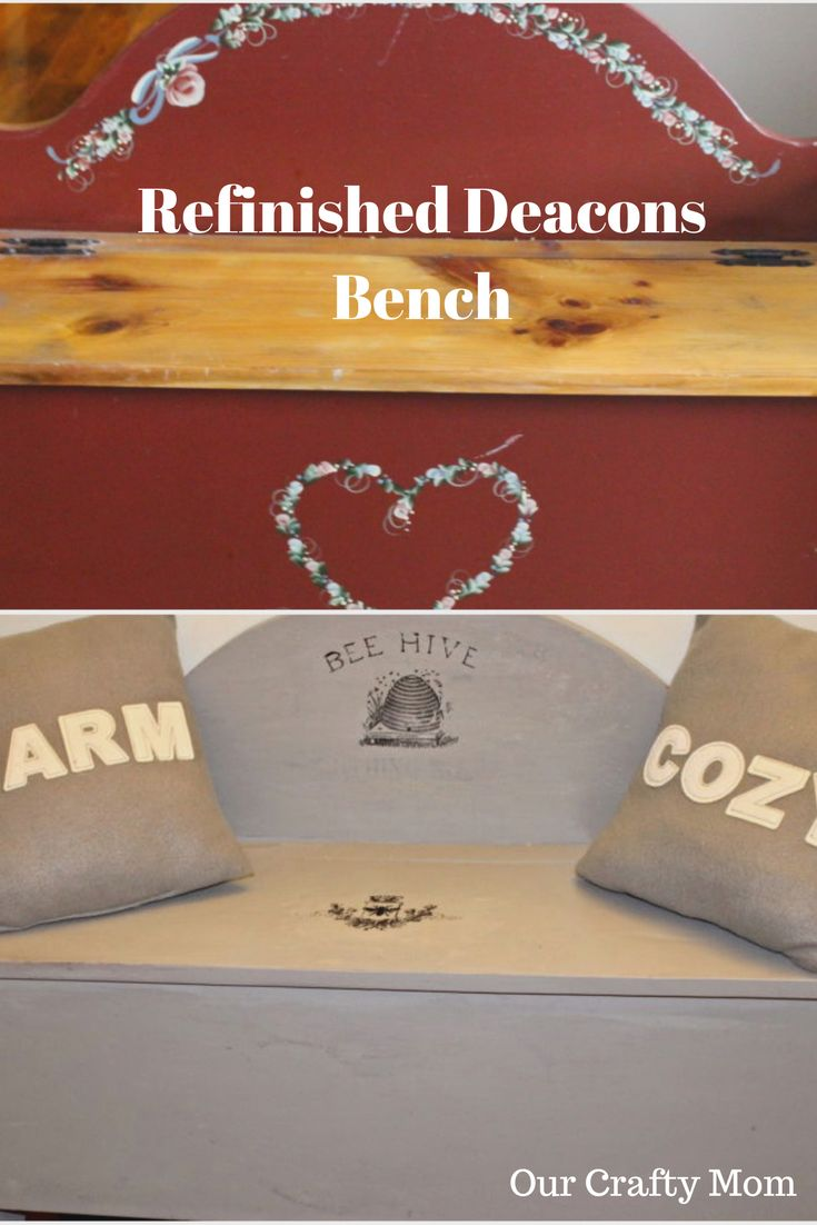 """Refinished Deacons Bench """"Spray It Pretty"""" With HomeRight Our Crafty Mom"""