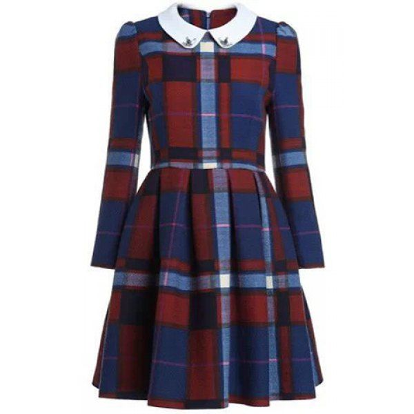 Preppy Style Peter Pan Collar Color Block Plaid Long Sleeve Worsted Dress For Women, AS THE PICTURE, L in Long Sleeve Dresses | DressLily.com