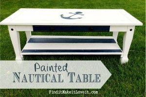 Painted Nautical Table June 24, 2014 By: Melanie2 CommentsPainted Nautical Table