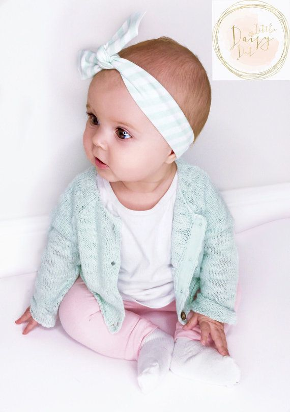 Mint Stripe Headband / Cotton Knotted Headband / Baby Headband / Infant Headband / Baby Top Knot / Baby Shower Gift / Modern Headband / Bows