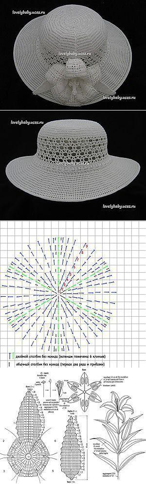 cappello bianco | CROCHET-ACESSÓRIOS | Pinterest | Sombreros, Verano and Hats