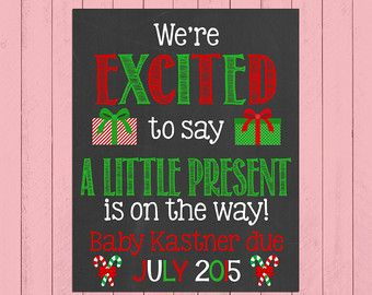 Christmas Pregnancy Announcement Chalkboard by PersonalizedChalk