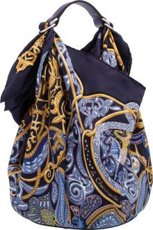 "Hermes Petit H Collection Iris Togo Leather, Navy Blue and Gold ""La Charmante aux Animaux,"" by Annie Faivre Silk Tote Bag. ...  120814"