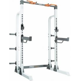 Take weight training to the next level with the Fitness Gear Pro Half Rack. The multi-functional, heavy-duty steel frame supports up to 600 lbs and offers 28 levels of adjustability. Designed for the home power and olympic lifter, this half rack maximizes training with multiple grip positions. It also features six horizontal posts for olympic plate storage. Build muscle and strength in your own home gym with the Fitness Gear Pro Half Rack.