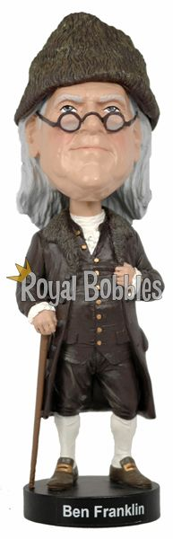 Benjamin Franklin was one of the Founding Fathers of the United States of America. He was a leading author and painter, satirist, political theorist, politician, scientist, inventor, statesman, soldier, and diplomat. #bobblehead #RoyalBobbles