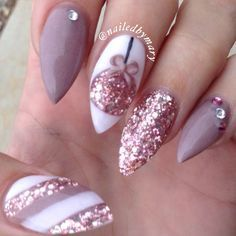 Christmas ornament candy cane rose gold stiletto nude nails