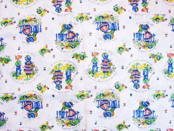 Vintage Juvenile Novelty Print Fabric by FabricTreasures4U on Etsy