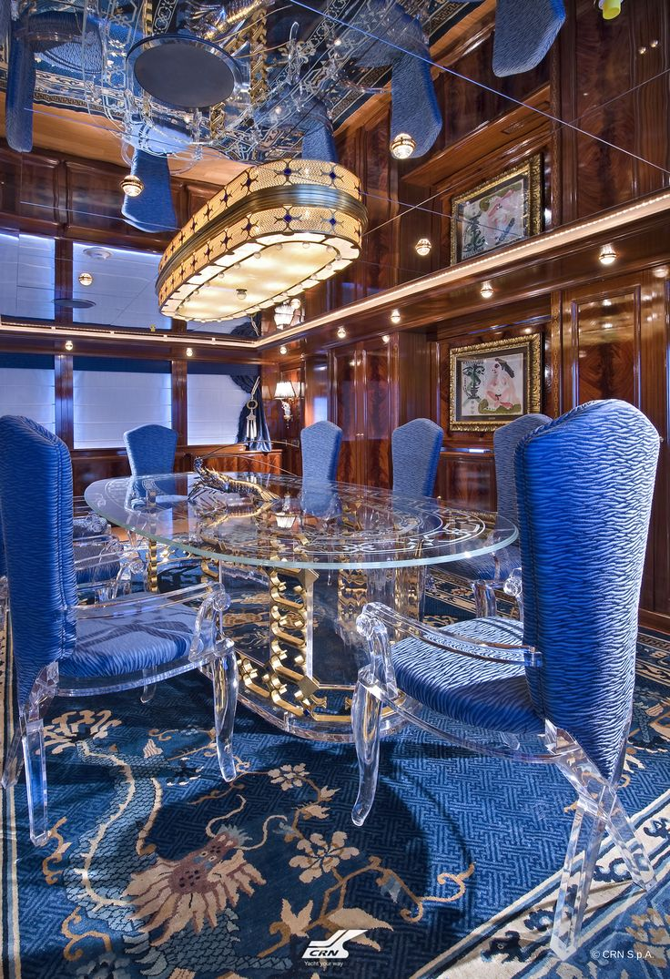 A journey in different times and cultures will be experienced by the guests on board the CRN M/Y Blue Eyes of London ex Blue Eyes 60m, designed as an apartment with an international taste where modern style easily fuses with antiques from the east and colonial touches, the past experiences of its Owners as well as the modern art which adorns its walls.