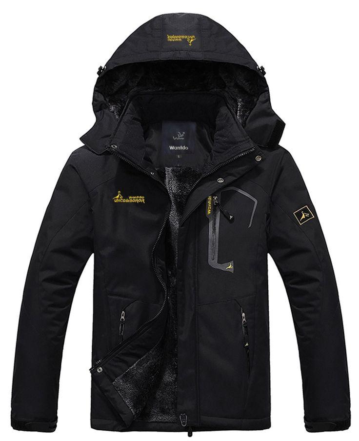 WantDo Men's Waterproof Mountain Jacket Fleece Windproof Ski Jacket(Black,US 2XL)
