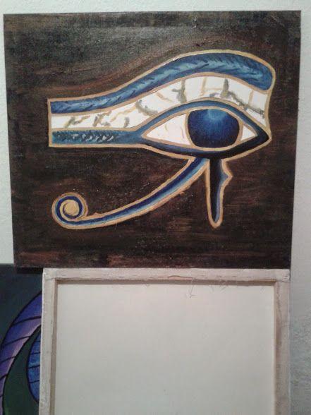 HÓRUS. Acrílico sobre tela. Olho de Hórus, também conhecido como udyat, é um símbolo que significa poder e proteção. O olho de hórus era um dos amuletos mais importantes no Egito Antigo, e eram usados como representação de força, vigor, segurança e saúde.