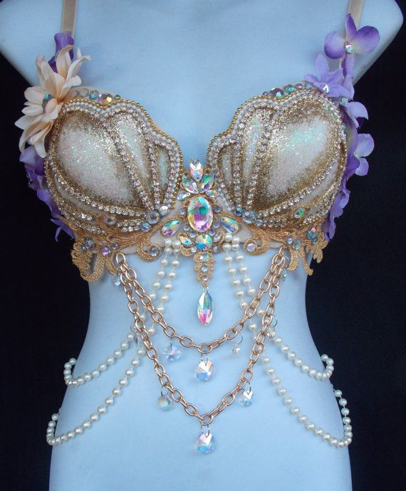 Crystal Mermaid Rave Bra Lavendar and Gold by RevoltCouture