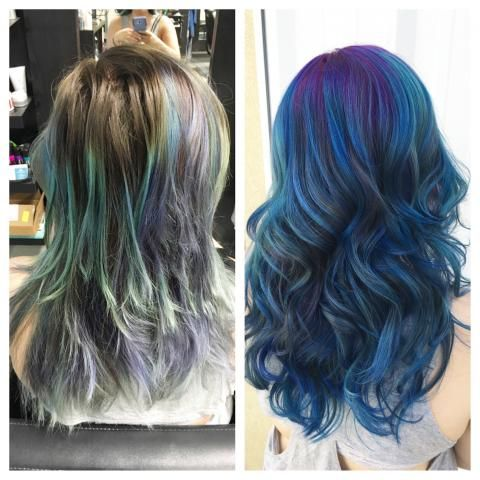 """""""This lovely lady found me on Instagram,"""" saysSami Schneider (@samihairmagic) of House of Color, Colorado Springs, CO. """"This was the second time I colored her hair. The first time we kept the natural root and added a blue balayage. FOUR MONTHS later she was ready for a change. She wanted to go full mermaid with a purple root. We talked ideas and decided on a purple root with different blues to create a smokey effect."""" Here Schneider shares the details for this beautiful mermaid refresh:"""