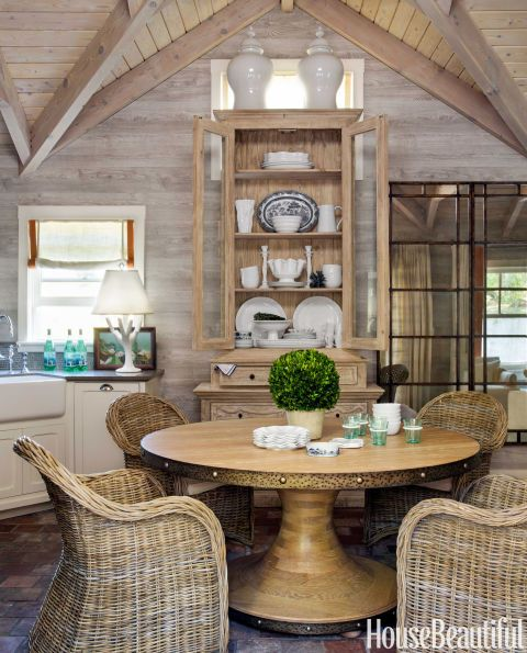 Dining Room. Causal poolhouse dining. Faux-bois wallcovering from Nobilis.  HB September 2014. Designer: Benjamin Dhong.