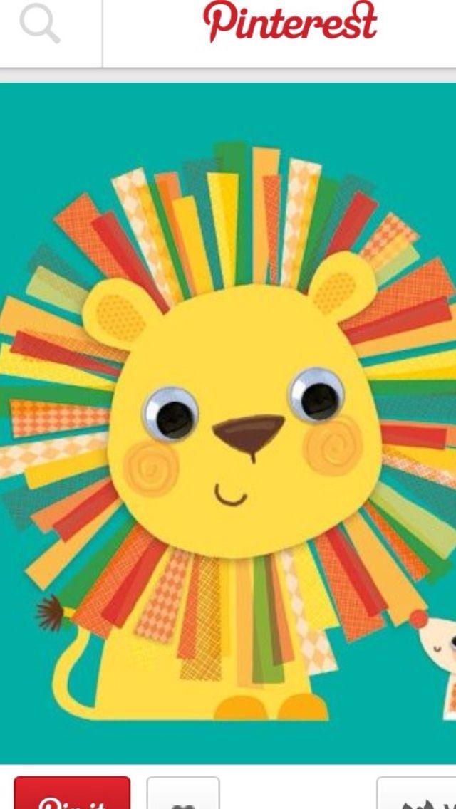 Pattern lion kids craft summer camp