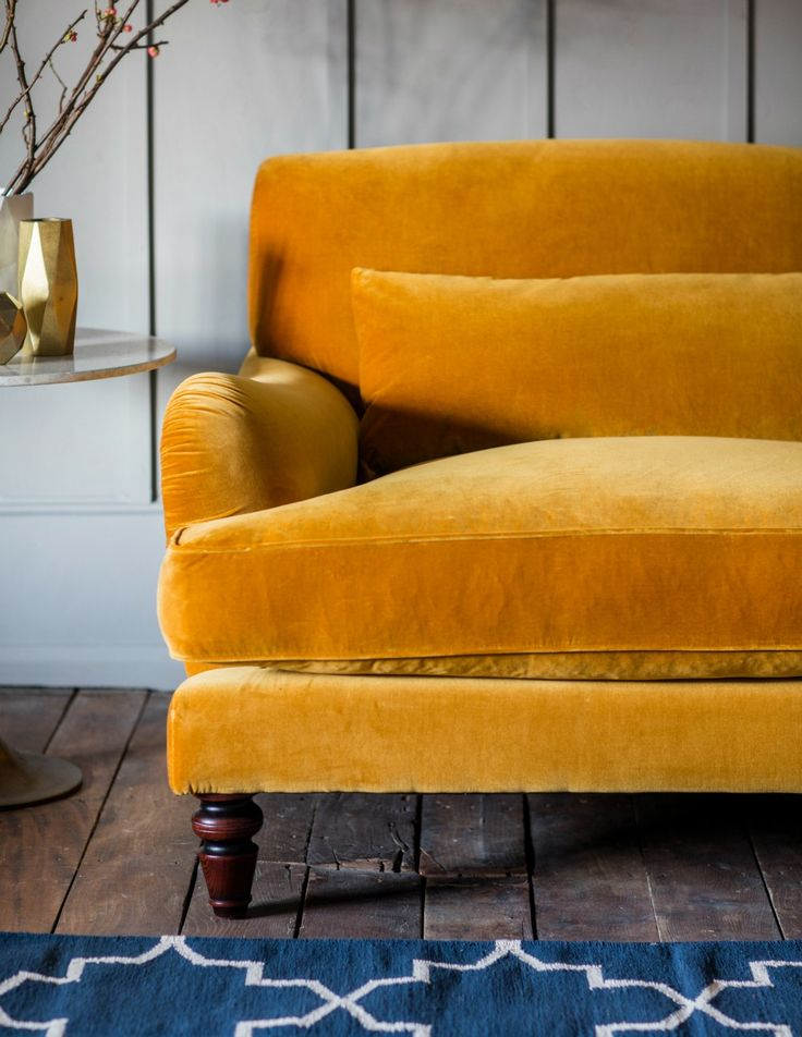 VELVET THREE-SEATER SOFA BY ROSE & GREY   Luxury yellow sofa for gorgeous home decors   www.bocadolobo.com #homedecor #interiordesign