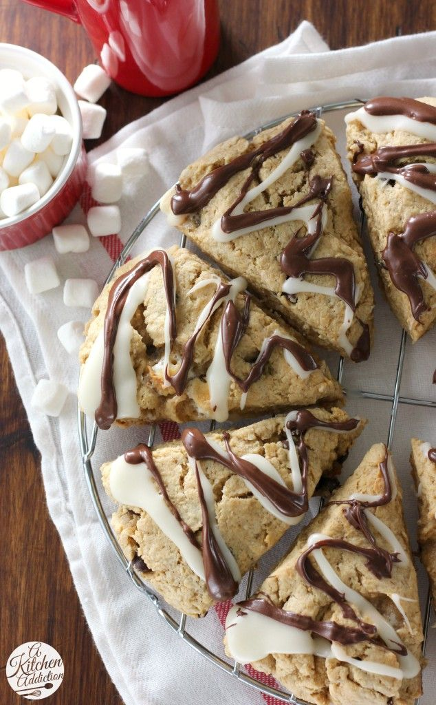 Peanut Butter Smores Scones with Marshmallow and Chocolate Drizzle