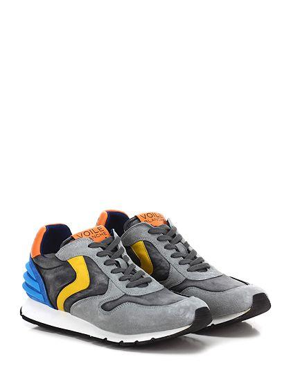 Voile Blanche - Sneakers - Uomo - Sneaker in camoscio e tessuto tecnico vintage con inserti in gomma su tallone e suola in gomma. Tacco 25, platform 15 con battuta 10. - GRIGIO\AZZURRO - € 198.00