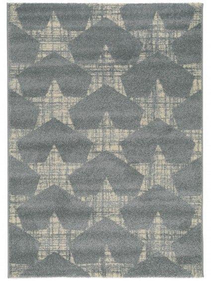 Stern-Design im Vintage-Look: Teppich Jastin Hellblau