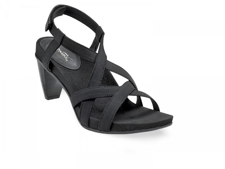 Ashley Heeled Sandal - Black, Womens Comfortable Heel The Ashley heeled  sandal is a classic multi-strap design with hook and loop back closure.