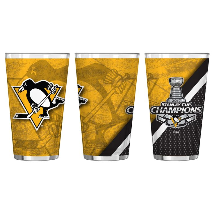 Penguins 2017 NHL Stanley CUP Champions 16oz. Sublimated Summary Pint Glass