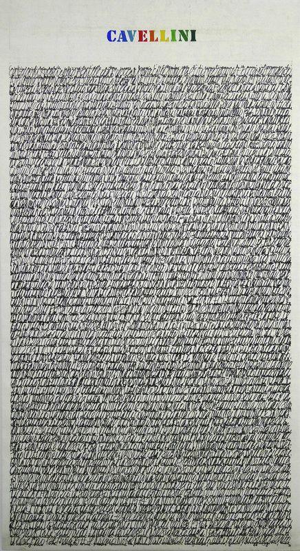 Guglielmo Achille Cavellini, Scrittura Su Tela, 1973, 58 x 46¾ inches (147 x 119 cm), Courtesy LYNCH THAM