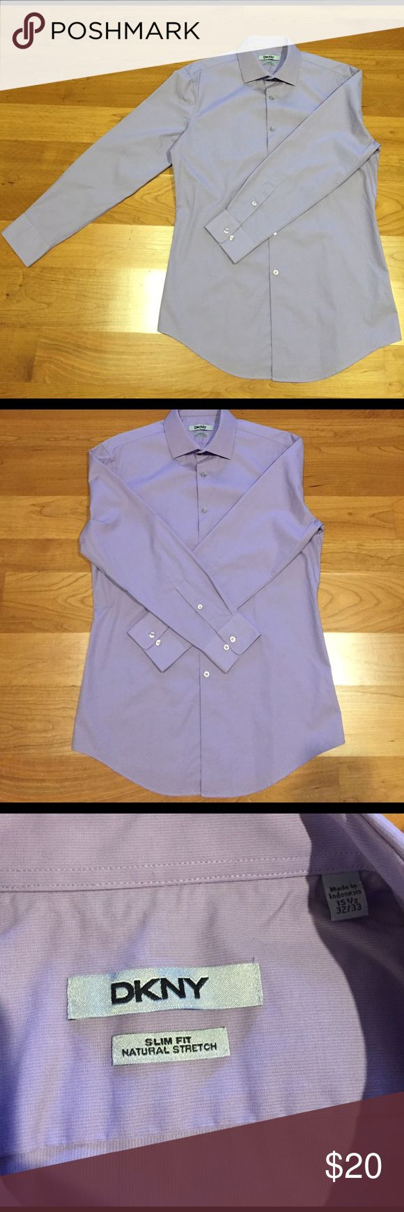 DKNY slim fit dress shirt Slim fit dress shirt from DKNY. Great condition - practically brand new! It's a lavender color with a 15 1/2 neck and 32/33 sleeve. Natural stretch, 100% cotton. DKNY Shirts Dress Shirts