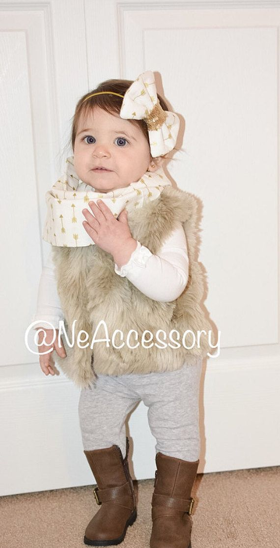Baby infinity Scarf and bow Set Children's Scarves by NeAccessory