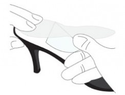 Step 5. Final Placement  Once the High Heel Mate are correctly positioned, hold the heel end of the insert in place with one hand, lift up the loose end of the insert with the other, and remove the remaining adhesive liner, peeling from the heel to the toe. Press down firmly. High Heel Mate are designed to be used in one pair of high heel shoes.