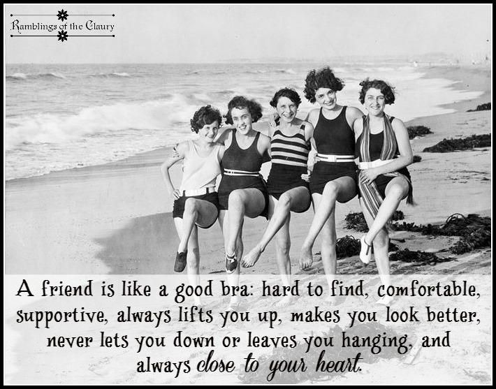 A friend is like a good bra: hard to find, comfortable, supportive, always lifts you up, makes you look better, never lets you down or leaves you hanging, and always close to your heart #friend #friendship #bra #support