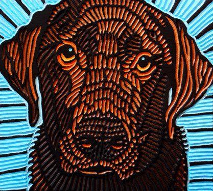 "'Hank the tank' - art by Lisa Brawn; a labrador painted on a woodcut block of salvaged Douglas fir; 12"" x 11"""