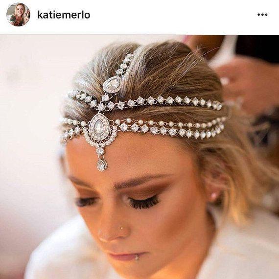 Silver Gold Kundan Pearl Matha Patti Wedding Bridal Goddess Bohemian Boho…
