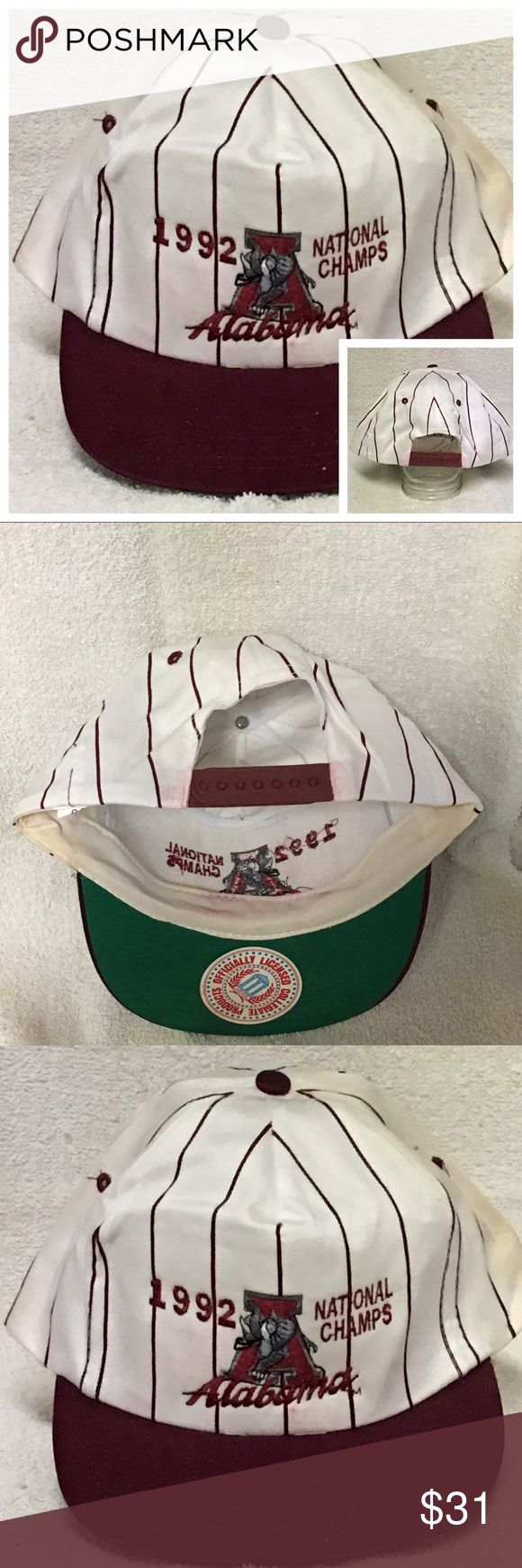 Alabama Crimson Tide Vintage Trucker Cap Snapback Alabama Crimson Tide Vintage Trucker Hat Cap Adjustable Snapback 1992 Champions SEC NCAA   Very Old ( Vintage )   This hat cap is in very poor overall condition. It has some discoloration / slight fading on the folds of the cap as seen in pictures.  It also has some stains on the inside of the bands of the cap. The name brand is CSI  as seen in pictures.    #alabama #sec #ncaa #vintage #collectible # sportsmemobilia #rolltide #snapback CSI…