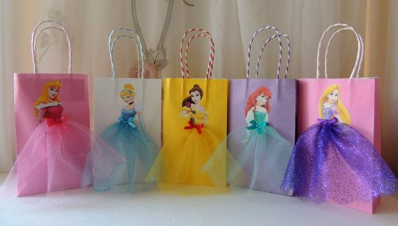 10 Pieces Disney Princess Birthday Goody Favor Tutu Bags Cinderella Belle Rapunzel Ariel Little Mermaid Aurora