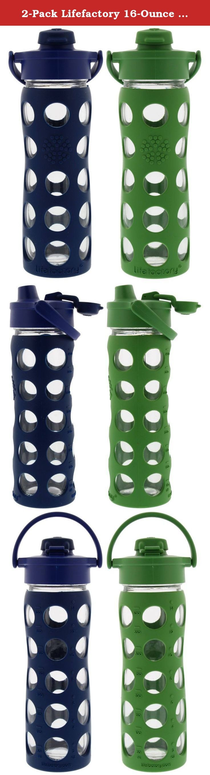 2-Pack Lifefactory 16-Ounce Flip Cap Beverage Bottles (Midnight and Grass). Performance meets Purity. The performance of the Flip Top Cap meets the purity of glass. The Flip Top Cap collection offers easy on-the-go drinking from the narrow mouth spout with the convenience of wide mouth access. 16 oz size is a bit slimmer and fits well in most car cup holders making it a perfect road trip companion. BPA free. Dishwasher safe. Made in the U.S. and Europe.