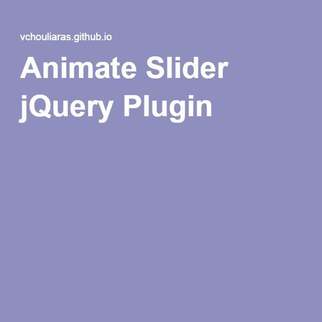 Animate Slider jQuery Plugin
