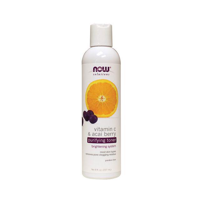 NOW Foods Vitamin C & Acai Berry Purifying Toner | 8 fl oz Liquid | Skin Care
