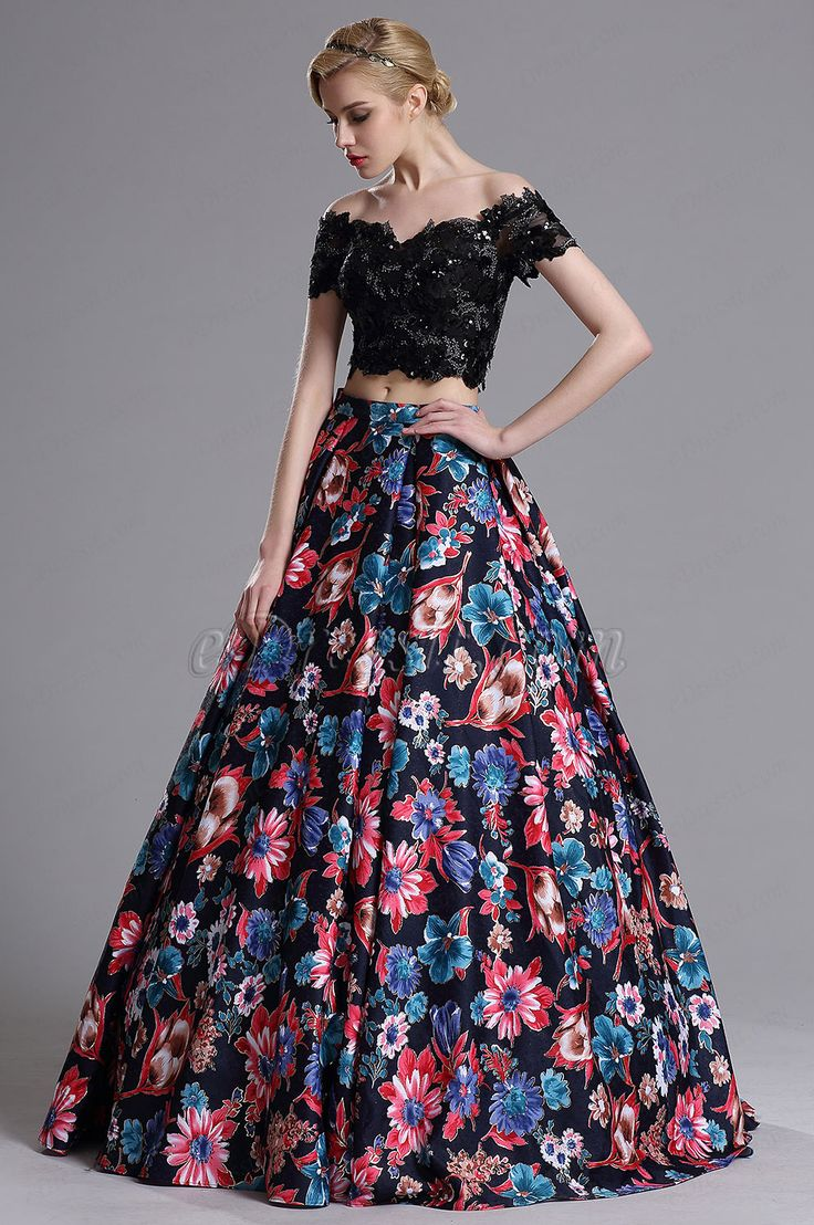 eDressit Two-piece Off Shoulder Floral Evening Prom Dress