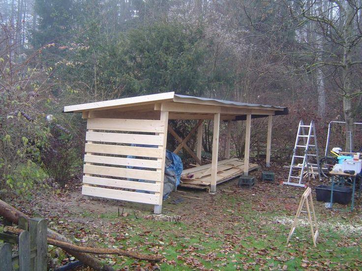 Offener Holzschuppen selber bauen - rolands-bauplaene