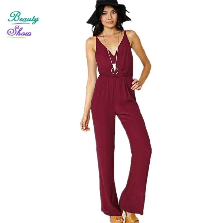Playsuits 2017 Europe America New Fashion Lady Sexy Racerback Open Back V-Neck Spaghetti Strap Chiffon Women Jumpsuit Bodysuits //Price: $21.35 & FREE Shipping //     #hashtag3