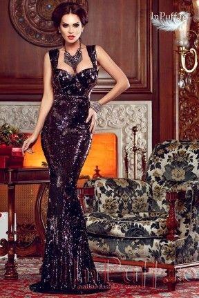 Rochie eleganta stil sirena paiete negre.
